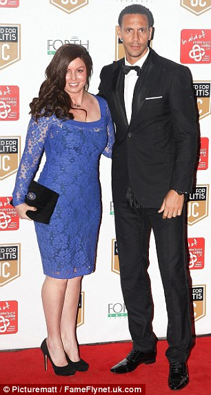 Doing their bit: Rio Ferdinand and wife Rebecca Ellison (left) and Robin Van Persie and wife Bouchra attended the charity event