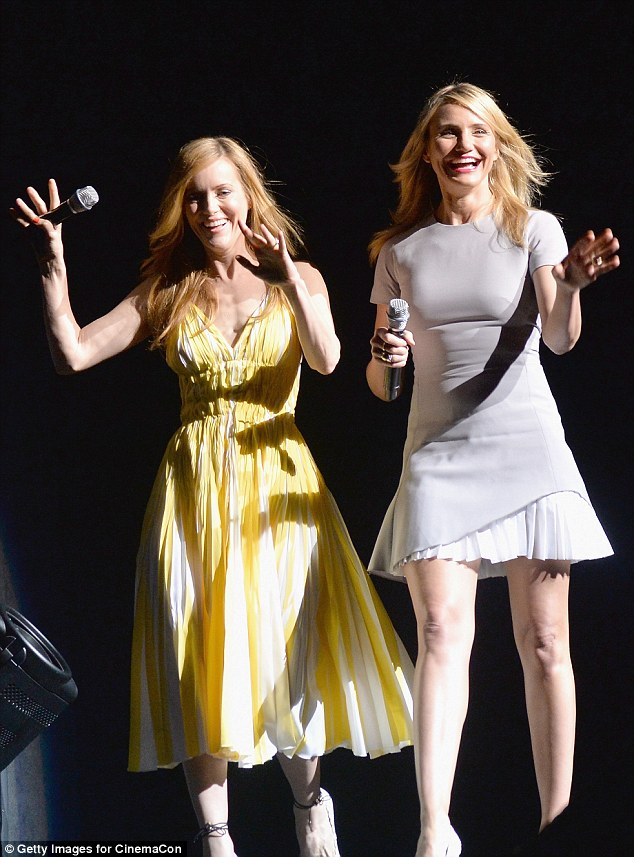 Girls just want to have fun: As their film Other Woman is all about girl power, the pair made sure to have lots of fun together, hamming it up as they posed on the red carpet and laughing their way to the podium once inside Caesar's Palace