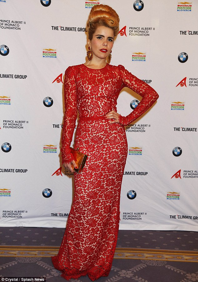Red alert: Paloma Faith wore a dramatic red lace gown with her signature dramatic hairstyle