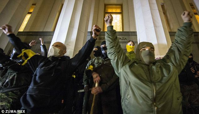Blame game: The emergence of far-right groups such as Right Sector in Ukraine has been cited by Russia as justification for its move to annex Crimea and protect the peninsula's ethnic Russian majority from Ukrainian 'fascists'
