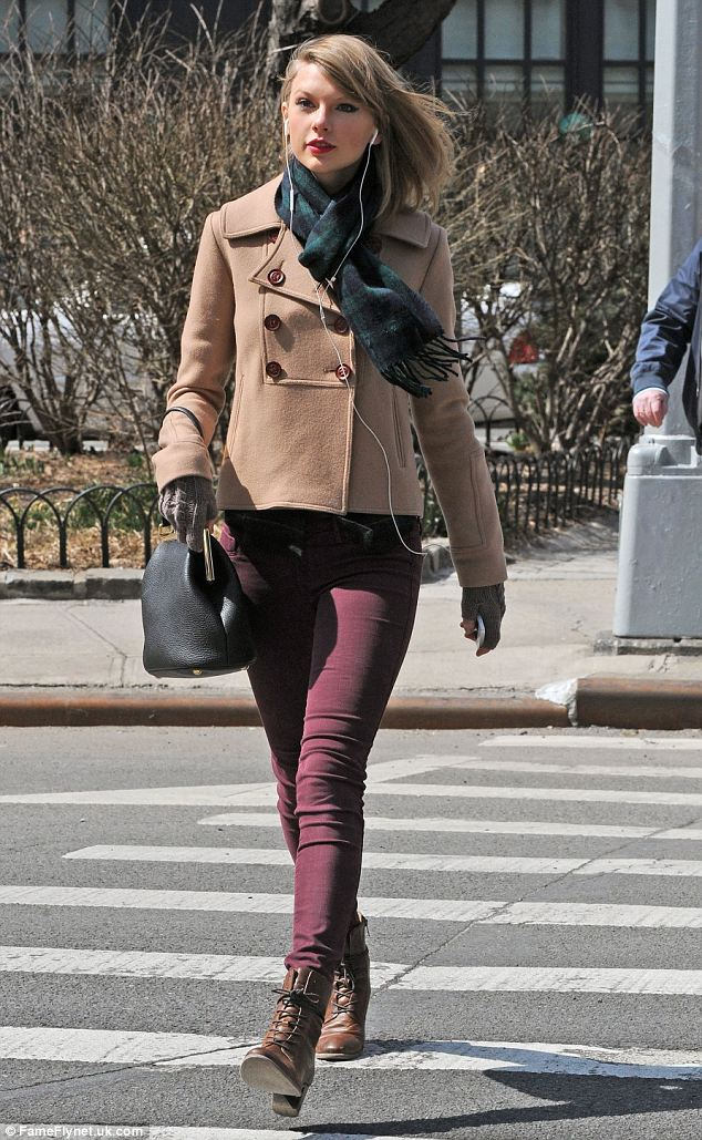 On a mission: Taylor looked determined as she strolled in the Big Apple