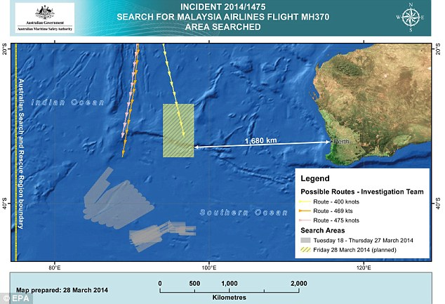 The international team of aircraft and boats will now comb approximately 319,000 square kilometres of the Indian Ocean located around 1,850 kilometres west of Perth, AMSA said