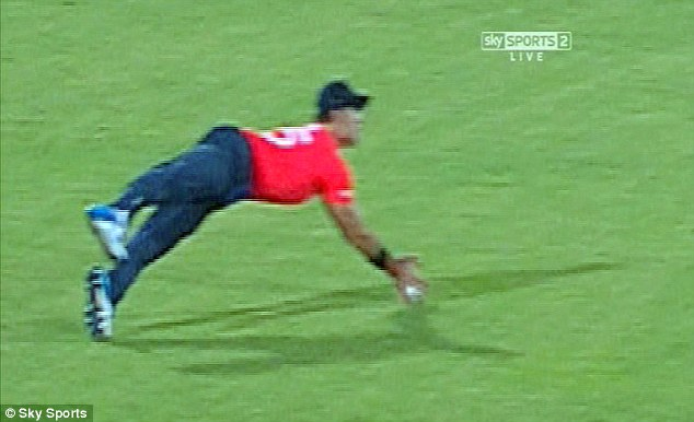 Close call: TV footage show Lumb going for the catch
