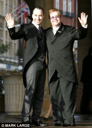 Landmark: Sir Elton John wed his partner David Furnish in a civil partnership ceremony in 2005