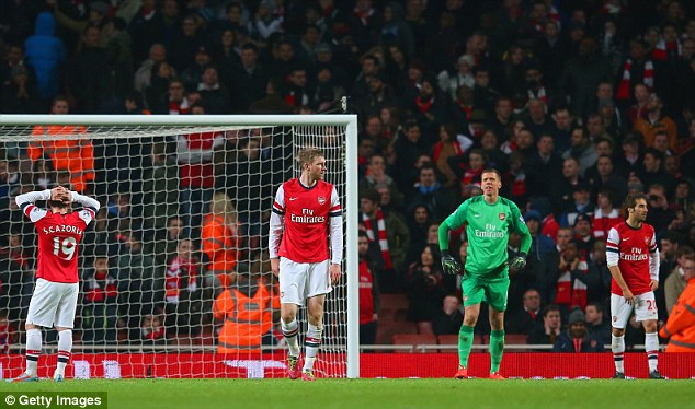 Nervy: Arsenal are six points clear of Everton but have played a game more - the two teams also play each other