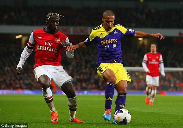 Snub: Bacary Sagna has decided not to make the move to Inter