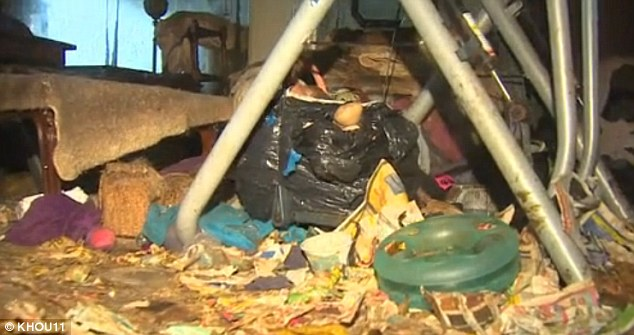 Littered: Every surface in the sisters' home was covered with rubbish and feces