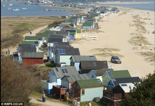 There are around 350 beach huts located on Mudeford Spit, with one earlier this year being snapped up for £180,000