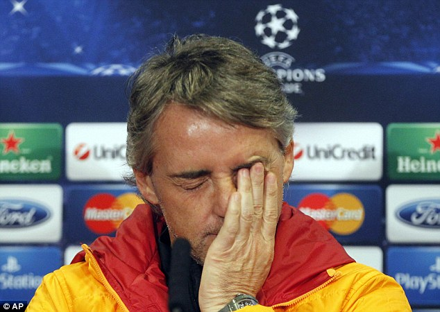 Under pressure: Mancini has struggled at Galatasaray since taking over last year