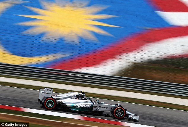 On track: Nico Rosberg, who won in Australia, was fastest in practice for Sunday's Malaysian Grand Prix