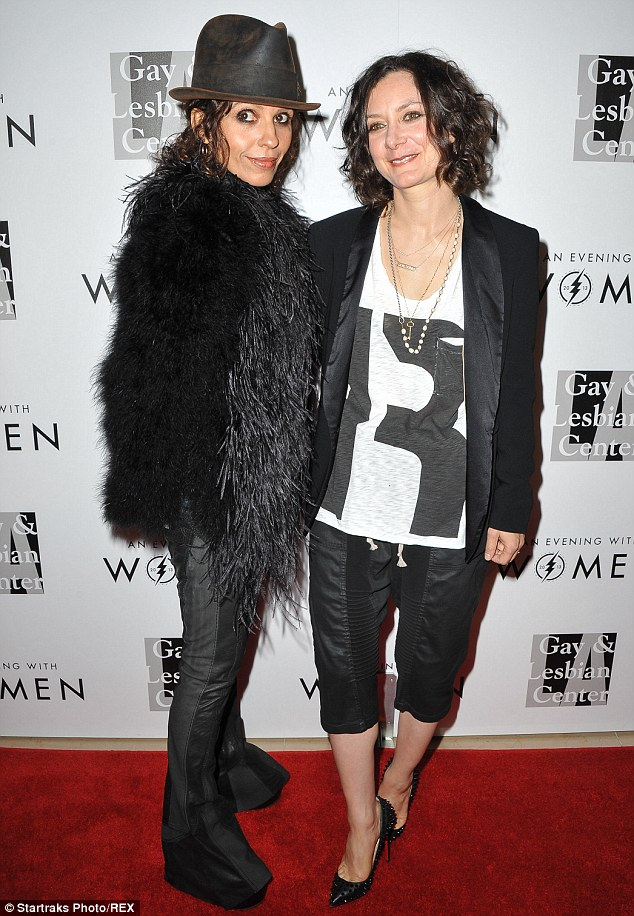 Hitched and happy: Linda Perry and Sara Gilbert, pictured in 2013, wed on Sunday, according to UsWeekly