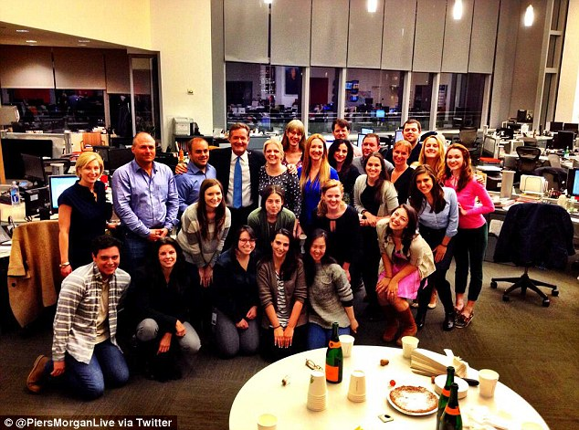 Piers' peeps: Morgan shared this photos with his staffers on Twitter before his final show