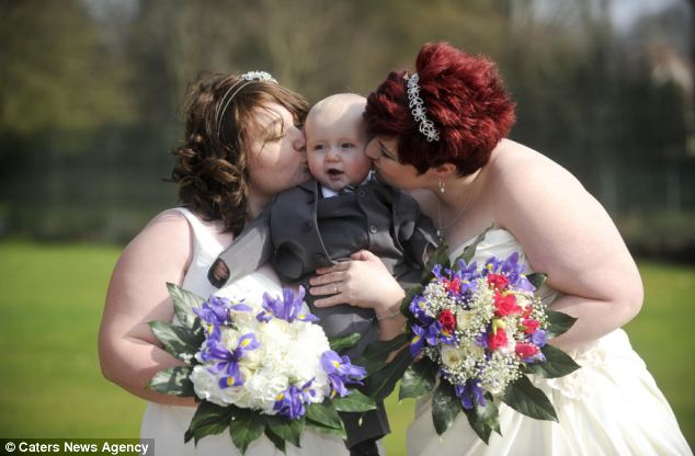 They shared the day with their 18-month-old son and their families in the beaming sunshine