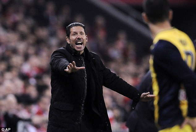 Difficult: Diego Simeone will lead his Atletico Madrid team against Barcelona in the Champions League