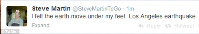 Moving experience: Steve Martin also tweeted out to his followers