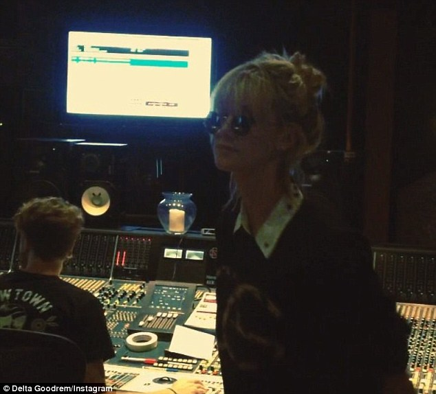 Back in the studio: Delta Goodrem is currently working on her fifth album (pictured this week in the studio)