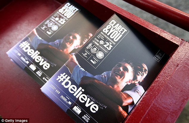 Headed to the Premier League? The match programme at Turf Moor called on Burnley fans to start to believe