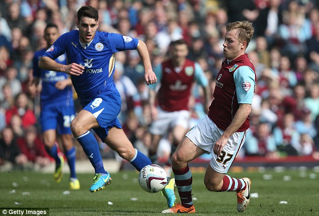 Best of the lot: Burnley's Ashley Barnes controls the ball in the top of the table clash against Leicester
