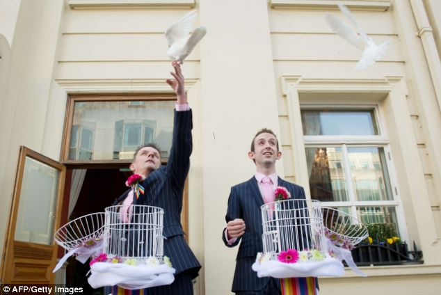 The couple were one of five marrying in Brighton today on the first day of legalised gay marriage
