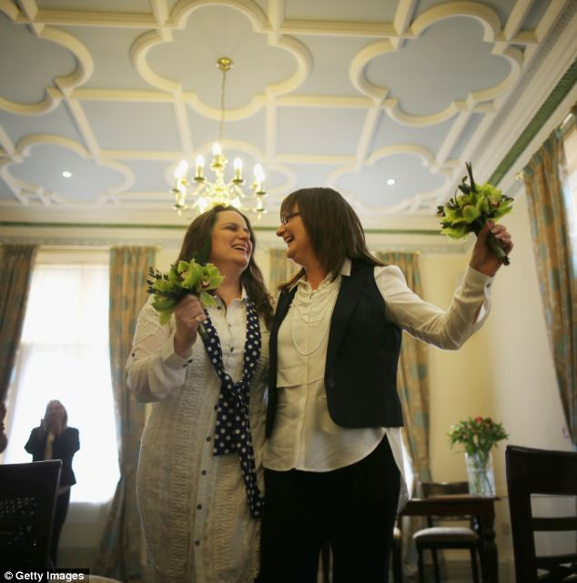 Helen Brearley (right) and Teresa Millward walked down the aisle after being married at Halifax Register Office