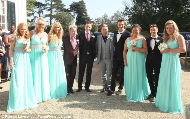 Singer David Van Day (fourth from left) and TOWIE star Bobby Cole Norris (fourth from right) attended