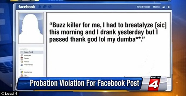 Colleen Cudney didn't think police would see this facebook post publicly admitting that she drank while under her probation