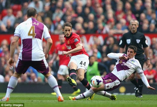 Teenage kicks: Adnan Januzaj came on to unlock Aston Villa's defence with a through ball for the final goal