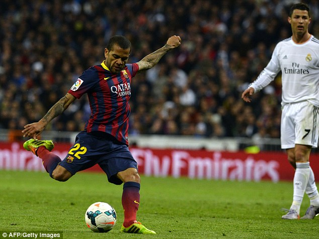 Hands full: Dani Alves will have to be at his best to deal with the Turk