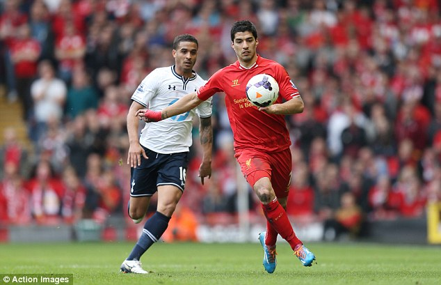 Touch of class: Hoddle said Luis Suarez knew he was too good for Kyle Naughton (above) and Younes Kaboul