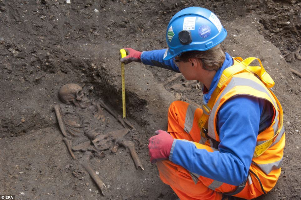 The remains were discovered during excavations of Charterhouse Square in Farringdon, London, an area of the capital left largely undisturbed for years