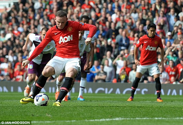 Deadly: Wayne Rooney scored a double as United beat Villa 4-1 at Old Trafford on Saturday