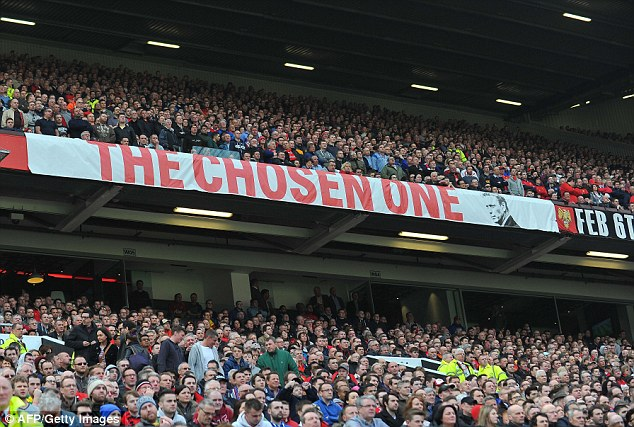 Message: The Chosen One banner continues to hang at the Stretford End despite Moyes' recent woes