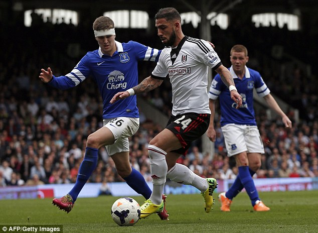 Nervy: Everton teenager John Stones struggled with the high ball