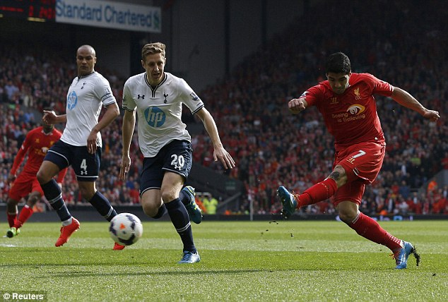 Form side: Luis Suarez fires the ball home to help Liverpool beat Tottenham on Sunday