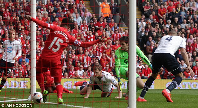 Quick: Liverpool went ahead inside two minutes when Younes Kaboul turned the ball into his own goal