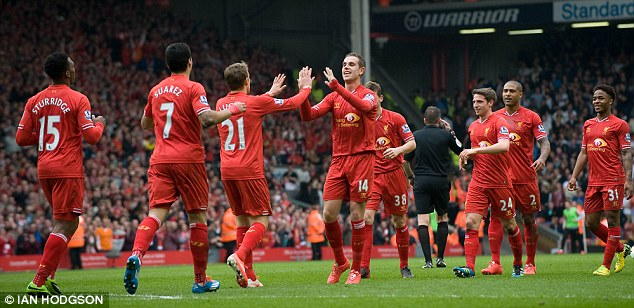 In their own hands: Liverpool have now overtaken Chelsea to go top of the Premier League table