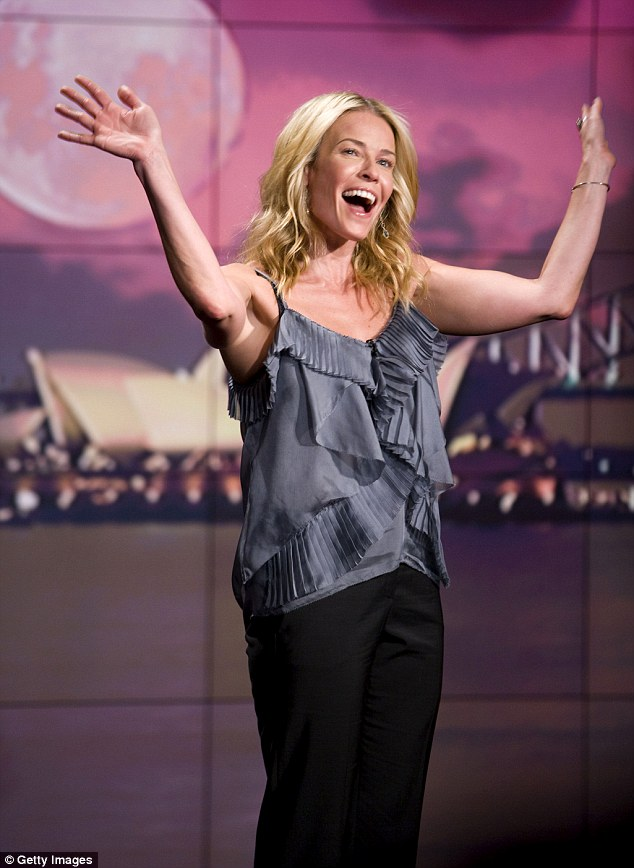 There she is! Chelsea Handler waved her arms in the air while filming Chelsea Lately in Sydney, Australia in March 2011