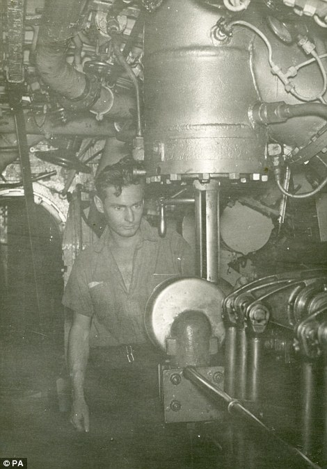 Bill Handyside hard at work during his time on the Alliance. He worked as an engine room artificer on the submarine