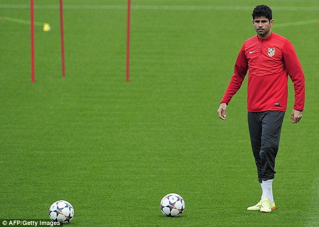 Star striker: Atletico Madrid frontman Diego Costa takes part in the club's training session on Monday