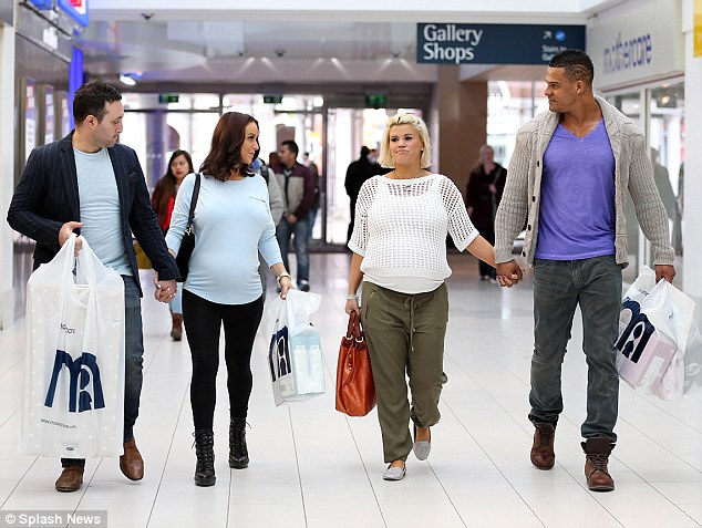 Group trip: (L-R) Blue singer Antony Costa, his pregnant fiance Rosanna Jasmin, Atomic Kitten singer Kerry Katona and her fiance George Kay stepped out for a group shopping trip on Sunday afternoon
