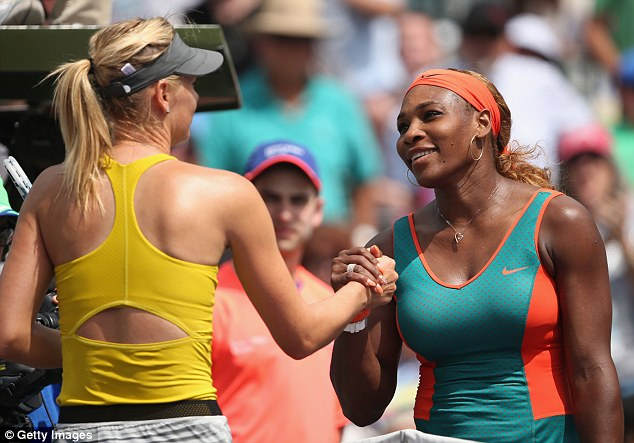 Better luck next time! Serena Williams of the United States, left, shook hands at the net after her straight sets victory against Maria Sharapova of Russia during their semi-finals match during day 11 at the Sony Open at Crandon Park Tennis Centre