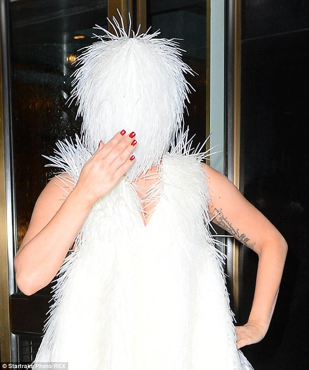 Blinded by fashion: It's a wonder how the New York native saw anything at all through the shaggy muppet-like headpiece, which engulfed her face