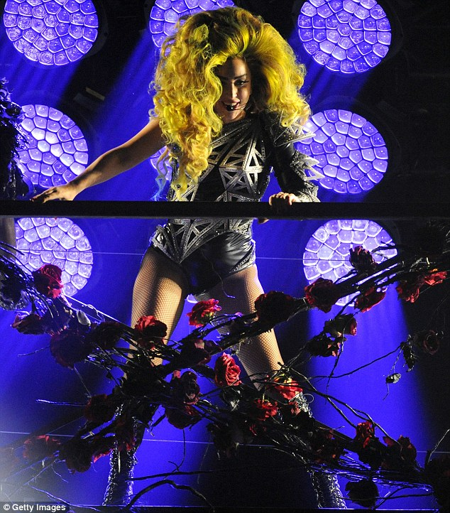 Theatrical show: Gaga performed amid a colourful set and several costume changes