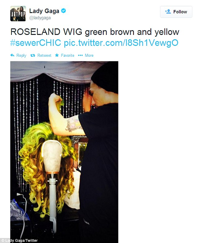 Getting her 'hair' done: Mother Monster also shared a snap of her wig technician styling her green-tinged 'sewer chic' hairpiece