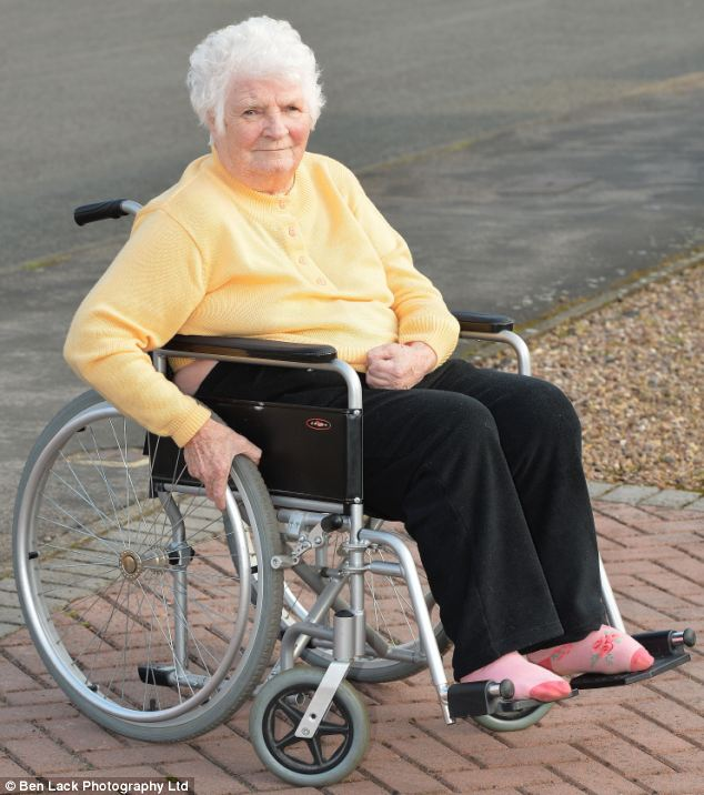Banned: Ryta Grimston, 80, has been told by North Yorkshire County Council that she can no longer be transported to a day centre in Selby in her aluminium wheelchair, because it is not 'crash proof'. The great grandmother has been told she must use a council approved steel chair instead.