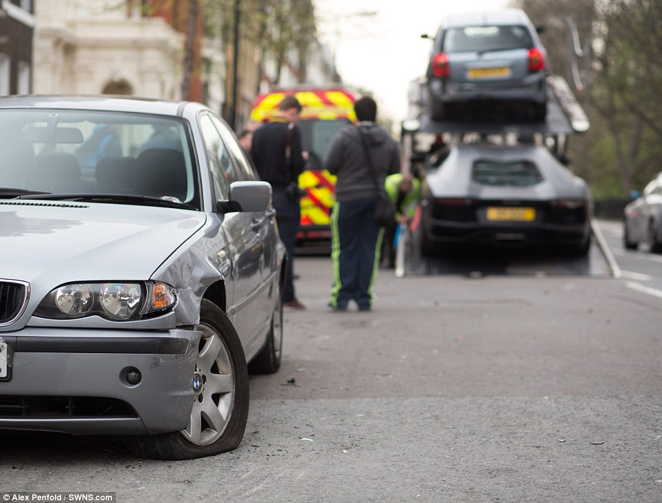 Taken away: Paul Wallace, from motoring enthusiasts' website the Supercar Scene, saw the smashed-up car shortly after the accident