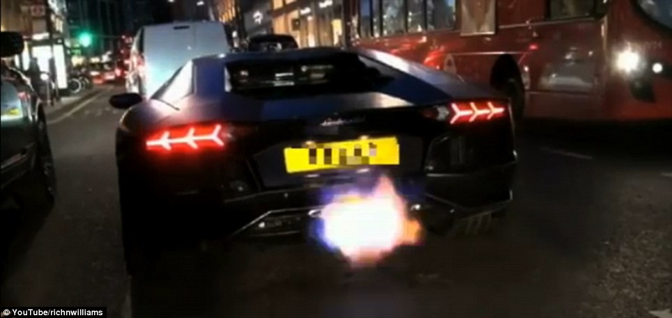 At night: The £300,000 top-end vehicle has been filmed being driven aggressively in the past with flames firing out of its uprated exhaust (pictured)