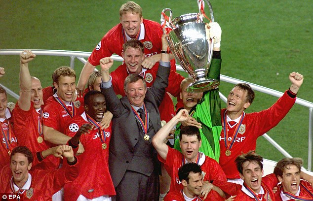 All smiles! Ferguson has been reliving the dramatic 2-1 Champions League final win against Munich in 1999
