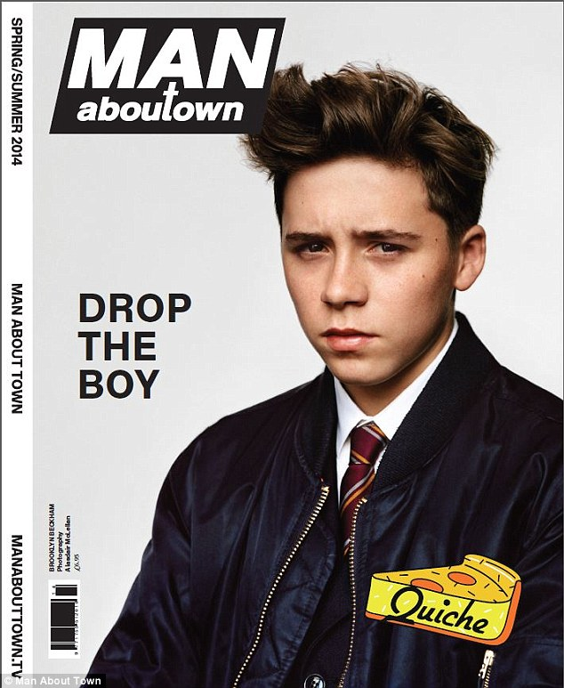 Cover boy: Schoolboy Brooklyn Beckham has never appeared in a fashion shoot before. A source said the entire family joined him to support him