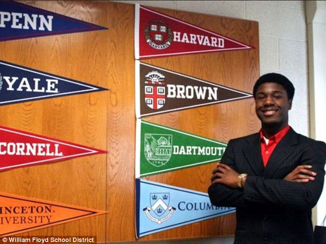 Now that's high achievement: Kwasi Enin, 17 a senior at William Floyd High School in Shirley, New York, applied to all eight Ivy League Universities - and decided today to go to Yale
